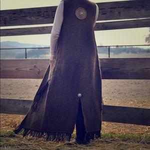 One of a kind, hand crochet full length vest